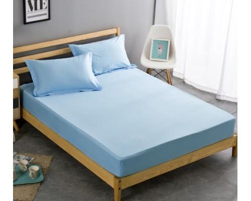 Cearceaf cu elastic din Bumbac 160x200 + 2 fete perna Albastru