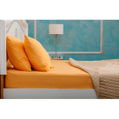 Husa de pat Bumbac 100% 160x200 Orange + 2 Fete de Perna