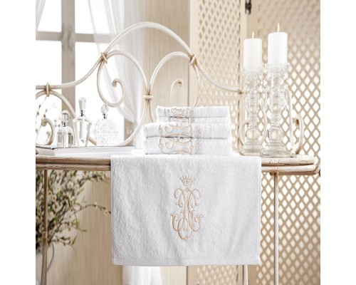 Set Prosoape de Lux din Bumbac Royal Collection Broderie Auriu Alb