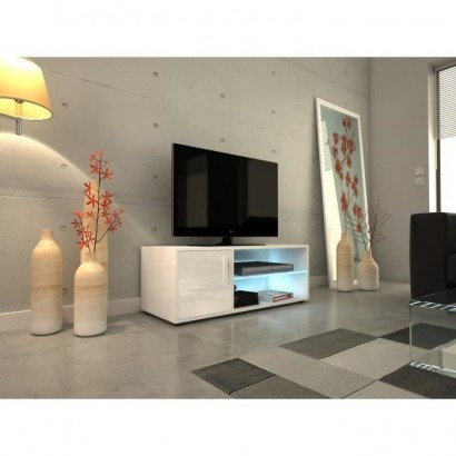 KORA Contemporary TV cabinet with LED lighting lacquered white - L 100 cm
