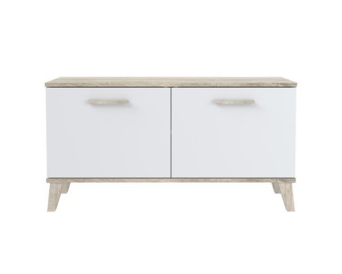 Matte white shoe cabinet 2 doors - Contemporary style - W 100 cm