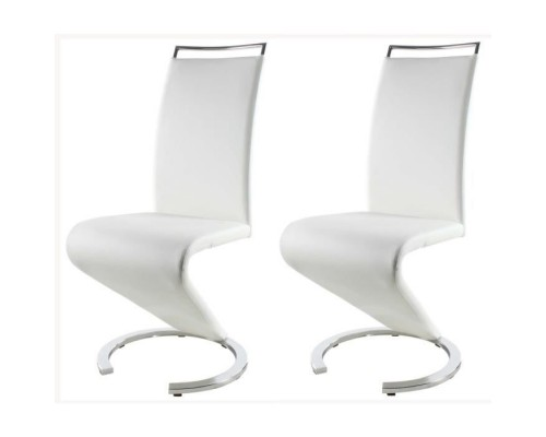 SIDNEY Set of 2 dining chairs in mineral - White imitation leather - Contemporary - L 49,5 x D 61 cm