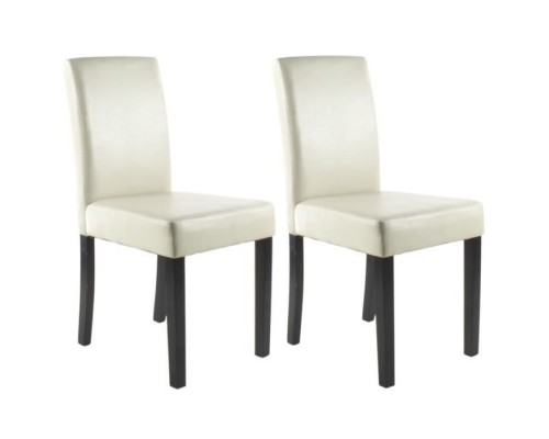CLARA Set of 2 Dining Chairs - Ivory - Classic - L 43 x D 45 cm