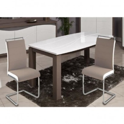DYLAN Set of 2 dining chairs - Taupe and white imitation leather - Contemporary - L 42,5 x D 56 cm