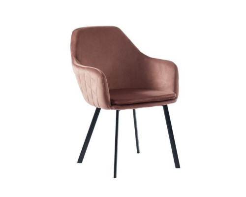 Chair upholstered in old pink velvet - Black lacquered metal legs - L56 x W65 x H82 cm - GLORIA
