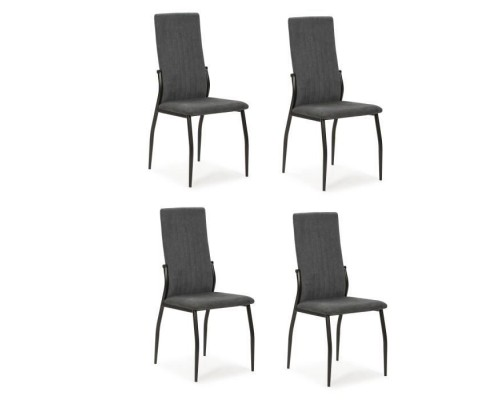 Set of 4 chairs - Anthracite fabric - L 43 x D 49 x H 102 cm - KELY