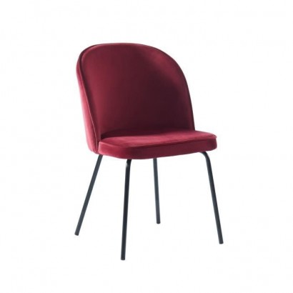 Upholstered chair in wine-colored velvet - Black lacquered metal legs - L58 x W47 x H82 cm - LINE