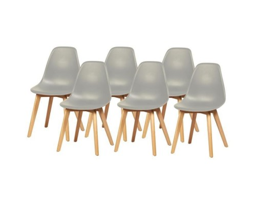 SACHA Set of 6 Chairs with rubberwood legs - Gray - L 46 x D 53 x H 82