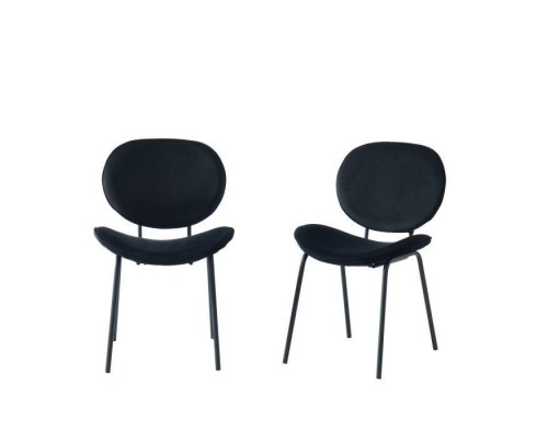 Set of 2 curved black velvet chairs - Black lacquered metal legs - L58.5 x W56 x H85 cm - SHEILA