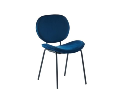 Curved chair in blue velvet - Black lacquered metal legs - L58.5 x W56 x H85 cm - SHEILA