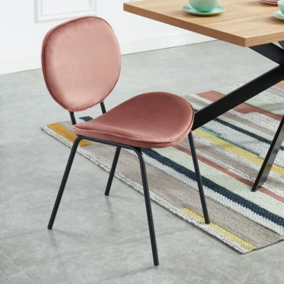 Curved chair in old pink velvet - Black lacquered metal legs - L58.5 x W56 x H85 cm - SHEILA