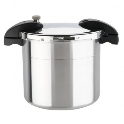 SITRAM Sitraprimo pressure cooker with steam basket - ? 24 cm - 10 L - Gray taupe and black - All heat sources including induction