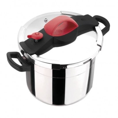 SITRAM Sitrapro pressure cooker with steam basket - 10 L - ? 24 cm - Gray, red and black - All heat sources including induction