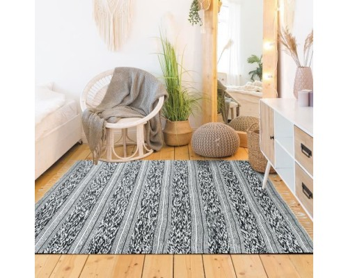 Covor Living/Dormitor Bumbac Terra rug - 120 x 170 cm - White & black relief strip