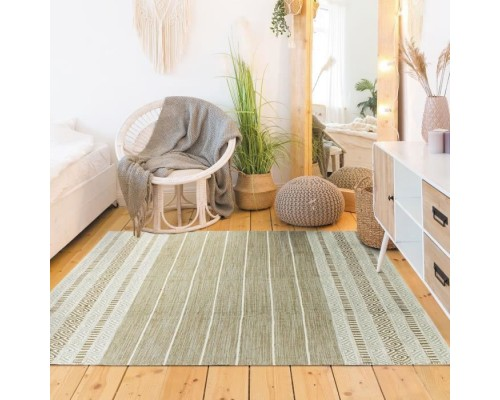Covor Living/Dormitor Bumbac Terra - 120 x 170 cm - White & sand outer band