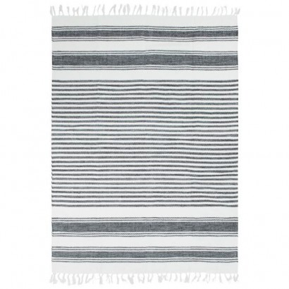 Covor Living/Dormitor Bumbac Terra - 120 x 170 cm - Gray, silver & white lines