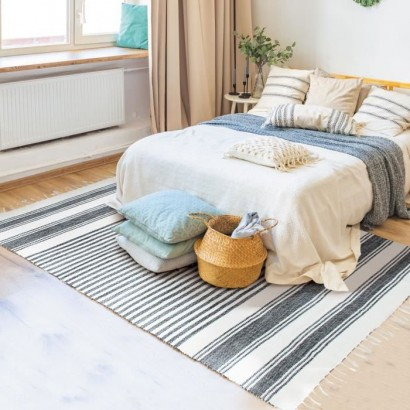 Covor Living Bumbac Terra  - 160 x 230 cm - Gray, silver and white lines