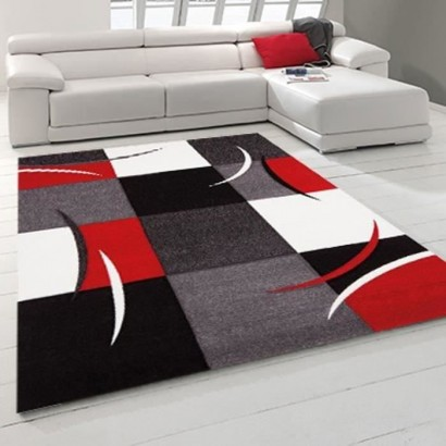 Covor geometric DIAMOND 80x150 cm red, gray, black and white