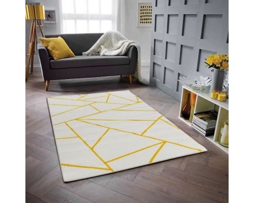 Covor geometric GALA 120 x 160 cm - Yellow and White