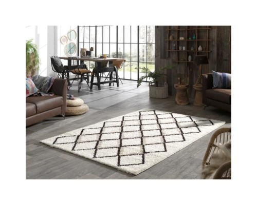 Covor Living/Dormitor SUZAN Shaggy - 150 x 220 cm - Cream and Gray - Geometric Pattern