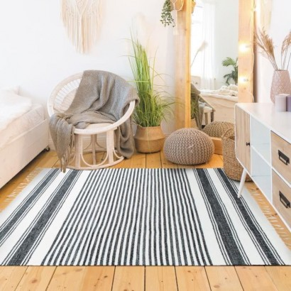 Covor Living/Dormitor Bumbac Terra - 120 x 170 cm - Black, gray and white lines