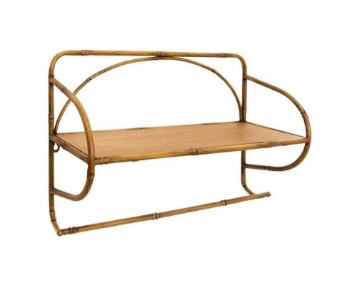 Metal wall shelf - Bamboo imitation