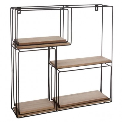 Set of 4 square metal and MDF wall shelves - Black: Dimensions: 1: 48 cm, 2: 27.8 cm, 3: 28.5 cm, 4: 15.4 cm