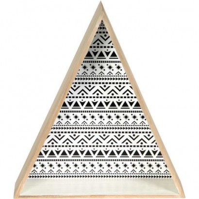 TRIANGLES Set of 2 triangular wall shelves - Wood - 37,5x11x73 cm - Beige and black