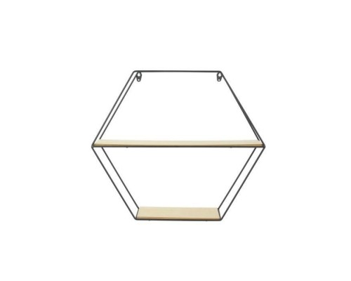 THE HOME DECO FACTORY Hexagonal wall shelf in wood and metal - 46 x 10 x 40 cm - Black and beige