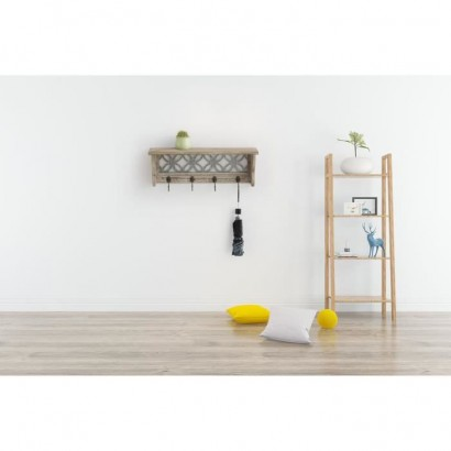 Wooden shelf with 4 hooks - 58 x 14 x 20.3 cm - Black