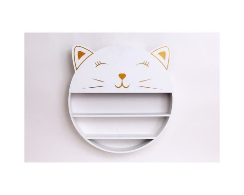 Cat Wall Shelf - 52 x 50 cm - MDF - White and Gold