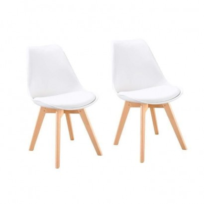 BJORN Set of 2 Dining Chairs - Fancy White - Scandinavian - W 48 x D 57 cm