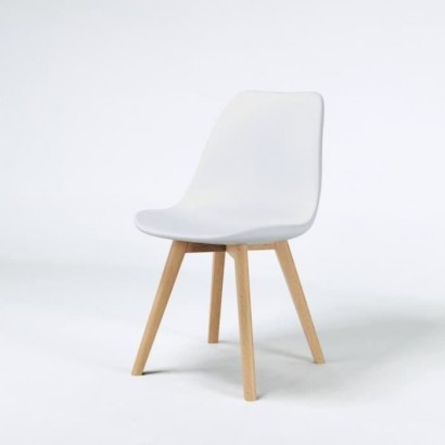 SACHA White Dining Chair - Solid Solid Rubber Wood Feet - Scandinavian - W 48 x D 55 cm