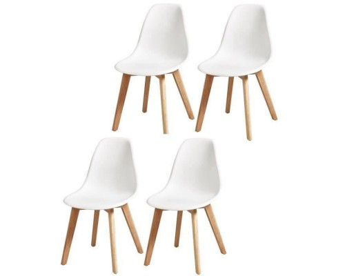 SACHA Set of 4 white dining chairs - Solid Hevea wood legs - Scandinavian - W 48 x D 55 cm