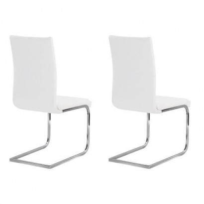 LEA Set of 2 Dining Chairs - White Faux - Contemporary Style - L 43 x D 56 cm