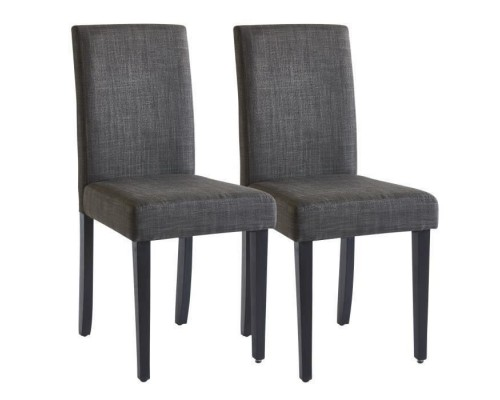 CARLA Set of 2 Chairs - Gray Fabric - W 42 x D 52 x H 90 cm