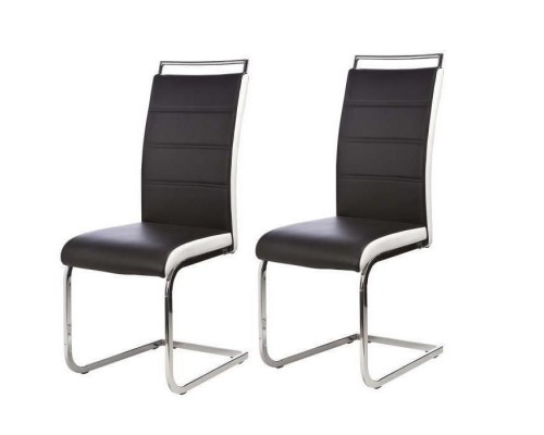 DYLAN Set of 2 dining room chairs - Black and white imitation - Contemporary - L 42.5 x56 cm