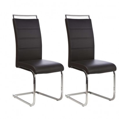 DYLAN Set of 2 dining room chairs - Black imitation - Contemporary - L 42.5 x D 56 cm