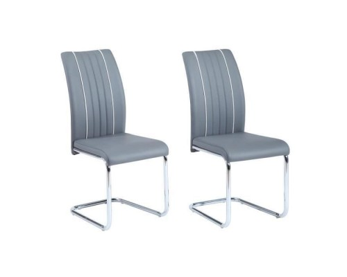INES Set of 2 dining chairs - Gray imitation - Contemporary - L 43 x D 59 cm