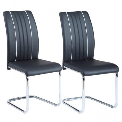 INES Set of 2 dining chairs - Black imitation - Contemporary - L 43 x D 59 cm