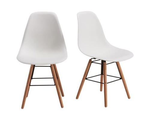 RENA Set of 2 dining chairs - White + solid beech wood legs - Scandinavian - W 52 x D 46,5 cm
