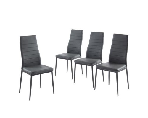 SAM Set of 4 Dining Chairs - Gray - Metal Feet - 41 x 54 x 96 cm