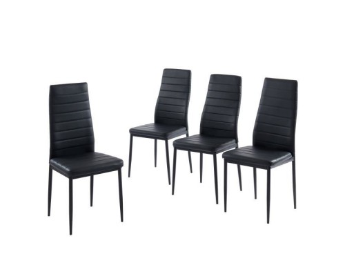 SAM Set of 4 Dining Chairs - Black - Metal Feet - 41 x 54 x 96 cm