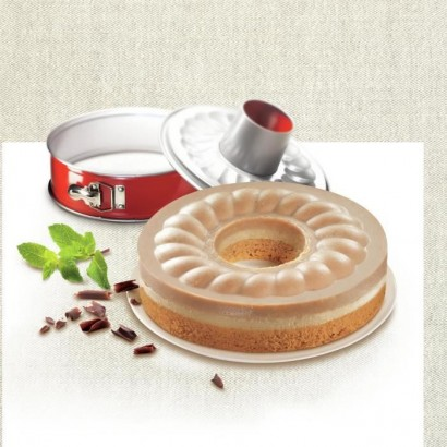 TEFAL Delibake savarin steel mold - ? 25 cm - Red and gray - With hinge