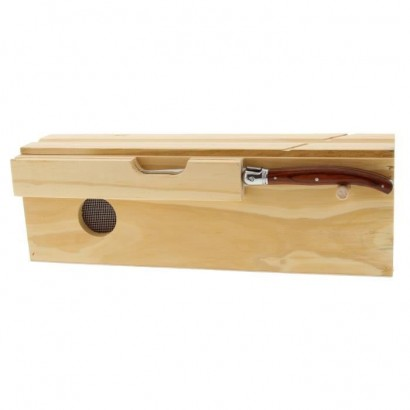 Pradel excellence wooden sausage box + 1 beige and black laguiole knife